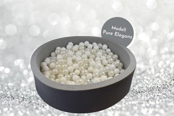 Meinbällebad rundes Bällebad Pure Eleganz Grau mit 300 Bällen