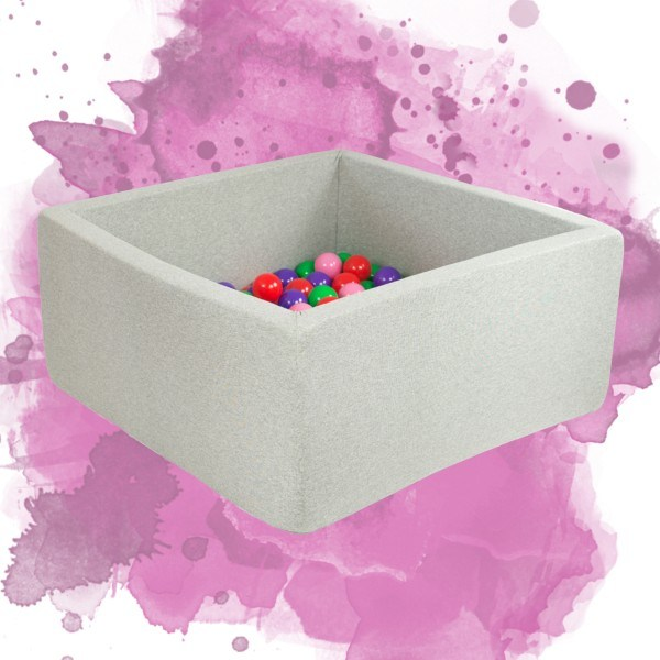 Misioo Bällebad quadratisch Hellgrau 90 x 90 x 30 cm (ohne Bälle)