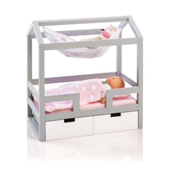 musterkind Puppen-Hausbett Barlia grau/weiß_MK501