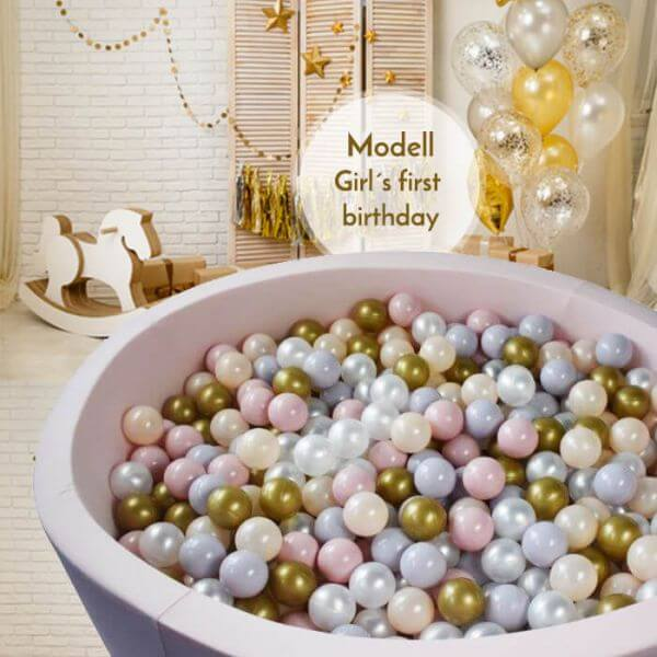 Meinbällebad rundes Bällebad First birthday girl Rosa mit 300 Bällen