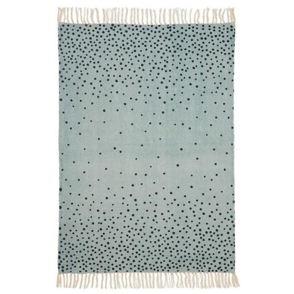 Done by Deer gepunkteter Teppich Blau