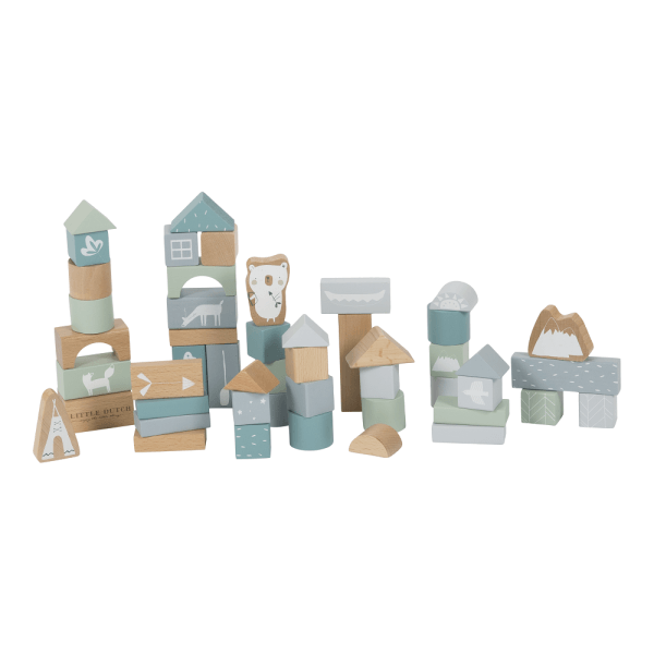Little Dutch Holzbausteine in Box Adventure Blue